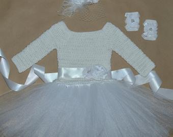 Crochet Tulle Tutu Flower Girl Dress Long Sleeve Baby Costume Handmade Photo Prop Baptism Christening