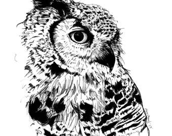 Art Print of Owl on the Prowl I Digital Print I Wall Decor