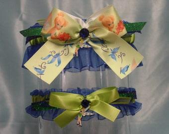 Royal Blue and Lime Green Disney Inspired Tinkerbell Garter Set