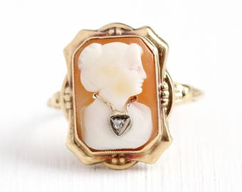 Sale - Vintage Cameo Ring - 10k Yellow Gold Diamond Habillé Ring - 1930s Sz 8.5 Flower Etched Art Deco Carved Rectangular Shell Fine Jewelry