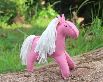 Felt Horse, 100% soft Wool, Pink and White
