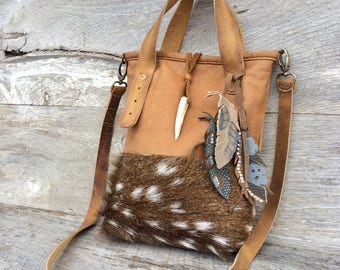 RESERVED for Nat Axis Deer Bag with Distressed Leather, Cross Body, Mini Tote Bag, Hair On, Fur, with Hand Painted Feathers by Stacy Leigh