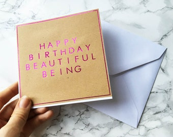 Birthday Card / Happy Birthday Beautiful / Pink Foil Card / Card for Best Friend / Card for Girlfriend / Birthday Gift / Greetings Card