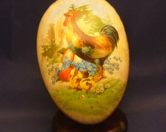 Vintage Hen with Baby Chicks Nestler Germany Paper Mache Lithograph Easter Egg Container, 1980s