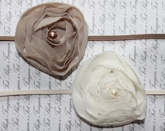 Twin Set Chiffon Baby Flower Headband, Newborn Headband, Baby Girl Flower Headband, Photography Prop
