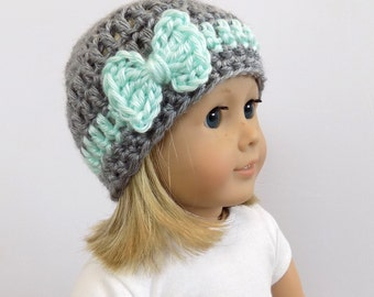18 Inch Doll Hat, Doll Clothes, Gray Doll Beanie