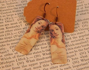 Venus art earrings Botticelli jewelry mixed media jewelry wearable art