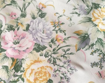 Vintage French Floral Fabric, Pastel Floral Print Fabric, Florals And Butterflies, French Fabric, Vintage Fabric, Old Cotton Flower Fabric