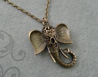Elephant Necklace, Elephant Jewelry, Elephant Head Pendant, Indian Elephant, Filigree Elephant, Brass Elephant Charm Necklace, Elephant Gift