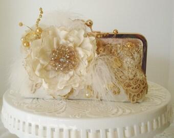 Ivory Clutch / Lace Clutch / Gatsby / Rustic Eleganct Wedding / Garden Wedding