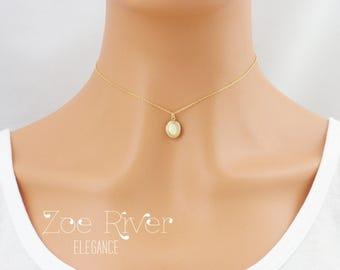Tiny gold locket choker necklace, dainty locket choker necklace.