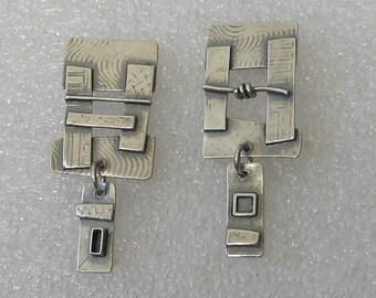 Sculptural Rectangle  Sterling Post Earrings
