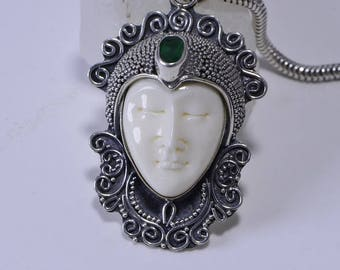 Moon Face bone carved  framed on sterling silver Natural Emerald Stone Pendant Patina Jewelry