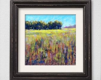 "Original Pastel Painting ""Green Field"""