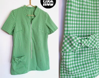 Cute Mod Vintage 60s Green and White Plaid Tunic Top Shirt! Swinging 60s Go-Go Girl!