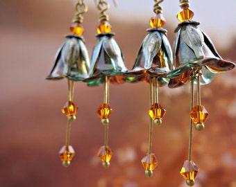 Amber Earrings - Flower Earrings - Amber Earrings - Turquoise Earrings - Floral Earrings - Turquoise Jewelry - Dangle Drop Earrings - Gift.