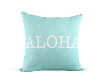 18x18in Aloha Typewriter Aqua Burlap Style Linen Pillow Cover