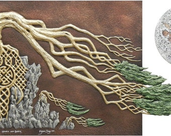 Heaven and Earth - Cast Paper - Sacred Tree - Full Moon - Celtic Knot - Windswept
