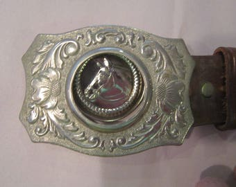 tooled leather belt with silver dollar buckle vintage tooled leather belt