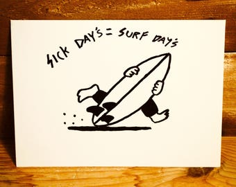 Surfing Themed Greetings Card