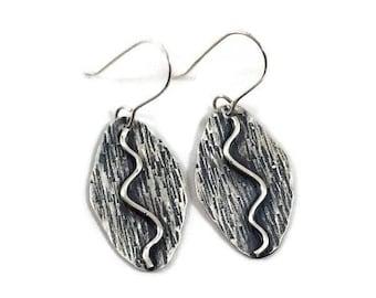 Argentium sterling silver earrings Hammered earrings Oxidized sterling silver Textured silver earrings Dangle earrings
