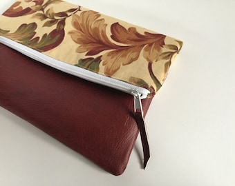 Tan and Maroon Floral Fold Over Clutch, Clutch Purse, Vinyl Fold Over Clutch