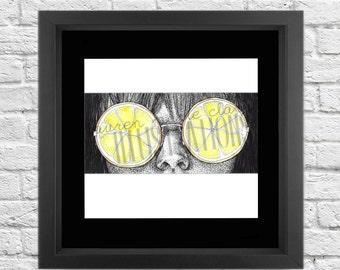 Lemon Glasses, Art Print, Illustration