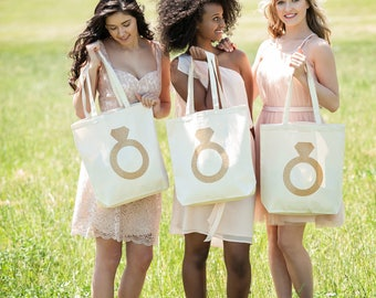 Glitter ring Personalized Bridal Tote Bag, Bridesmaid Tote Bag, Maid of Honor Tote Bag, Monogrammed Tote Bag