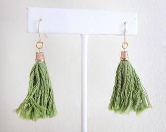 Tassel Earrings -  Sap Green - Handmade