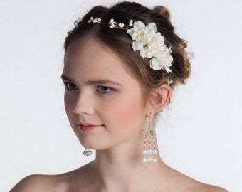 Bridal Flower Crown - Bridal Hair Accessories, Bridal Headband, Floral Crown, Flower Girl Hair Wreath, Weddings, Wedding Headband