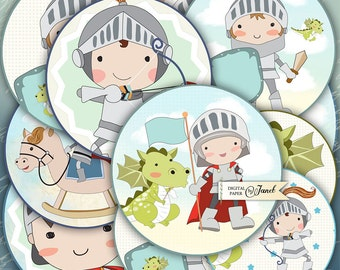 Little Knight - 2.5 inch circles - set of 12 - digital collage sheet - pocket mirrors, tags, scrapbooking, cupcake toppers