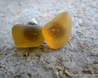 Mermaid Post Earrings - SMALL -Organic Sea Glass Earrings with Genuine Natural Amalfi Sea Glass in amber