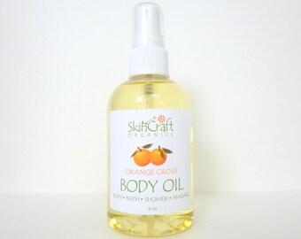 Orange Body Oil - Orange Bath Oil - Orange & Vanilla Moisturizing Oil / Orange Massage Oil - Lightweight for All Skin Types - Vegan  4 oz