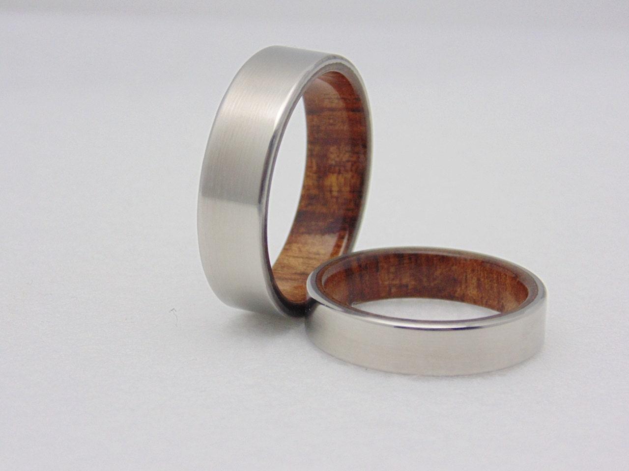 Wedding Band Set Koa Wood And Titanium Matching