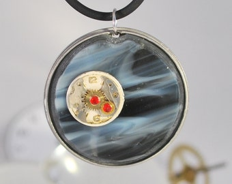 Handcrafted Steampunk Glass Pendant Necklace - 'Twilight', handmade