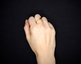 Cube-Minimal brass ring-Tris-Geometric jewelry 3d print-Gift Idea