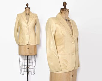 Vintage 70s LEATHER JACKET / 1970s Buttery Soft Natural Tan Snakeskin Trim Blazer S