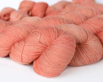 TONAL: ROSE GOLD 463 yards on 'Posh' Sock Yarn/ 4 ply merino, kettle dyed tonal yarn