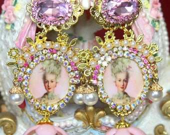 Young Marie Antoinette Victorian Pearl Pink Crystal Cameo  Studs Earrings