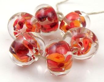 Astarte Encased SRA Lampwork Handmade Artisan Glass Donut/Round Beads Made to Order Set of 6 10x15mm