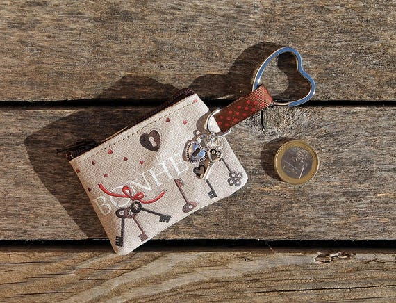 "Keychain - mini wallet with message ""Find the key to happiness"""