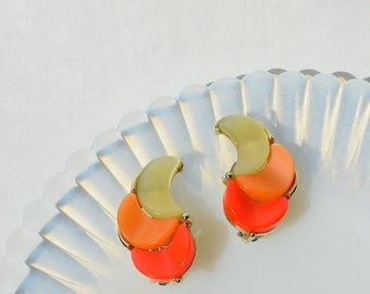 Lisner Creamsicle Colors Clip-On Earrings