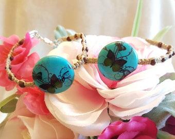 Blue Butterfly Bracelet - hemp with ceramic bead