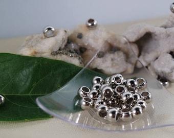 7 x 5 mm, hole: 4 mm. 40 silver CCB acrylic beads
