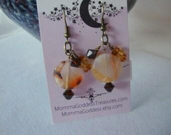Quartz Brass Bangle Earrings