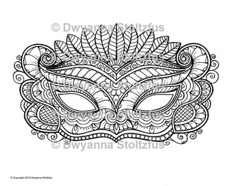 Masks Package A, 5 Coloring Pages JPG