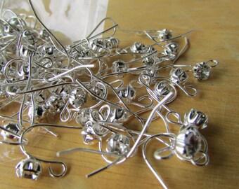10pcs Crystal Rhinestone Silver Ear Wires