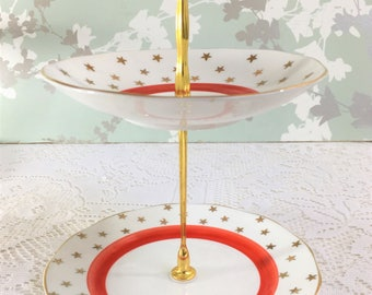 Retro 1950s Gold Star and Red Mini Cake Stand
