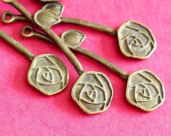 Sale 24pcs Antique Bronze Branch Twig with Rose Pendants EBB062Y-AB