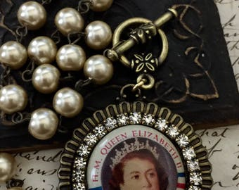 Queen Elizabeth Coronation Pinback 1953 Upcycled Necklace Deluxe Version Rhinestones and Pearls